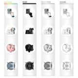 El banco, el banquero, las cualidades y el otro icono del web en estilo de la historieta Ciérrese, la caja fuerte, iconos de la s Imágenes de archivo libres de regalías