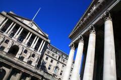 El Banco de Inglaterra y el intercambio real Fotos de archivo libres de regalías