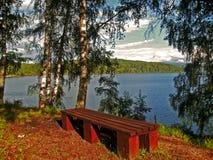 El banco de madera mira sobre el lago Vlasina Fotos de archivo libres de regalías