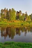 El banco del río Oredezh con día soleado de los árboles Fotos de archivo