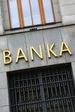 El banco firma adentro Praga Fotos de archivo libres de regalías