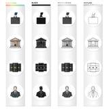 El banco, la seguridad, la ecología y el otro icono del web en estilo de la historieta Traje, banquero, profesión, iconos del din Imagen de archivo