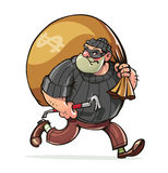 El bandido con la barreta lleva vector del dinero del saco Fotografía de archivo libre de regalías
