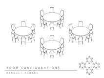 El banquete de la configuración de la disposición de la disposición de la sala de reunión redondea estilo Foto de archivo libre de regalías