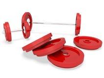 El Barbell del gimnasio indica conseguir ajuste y la representación del culturista 3d stock de ilustración