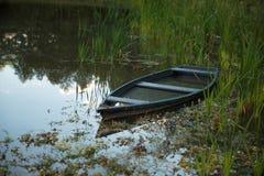 El barco amarró en el lago entre las cañas Foto de archivo libre de regalías