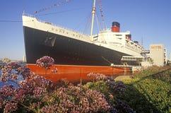 El barco de cruceros de Queen Mary en Long Beach, California Imagen de archivo