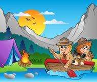 El barco de madera con los exploradores acerca al campo libre illustration