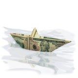 El barco de papel hizo de un billete de dólar 10 Fotografía de archivo