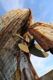 El barco de pesca de madera viejo detalla Islandia fotografía de archivo