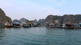 El barco de placer navega en un viaje de la bahía larga de la ha Cat Ba Island, Vietnam metrajes
