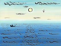 El barco navega en el mar debajo del sol stock de ilustración
