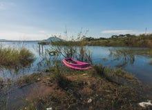 El barco viejo rosado corre encallado Fotos de archivo