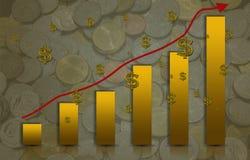 El barra-gráfico amarillo ascendente y la flecha con la moneda es un fondo Fotos de archivo libres de regalías