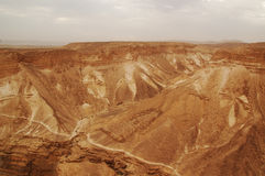 El barranco en el desierto de Judaean, Israel Foto de archivo libre de regalías