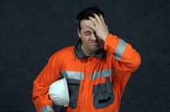 El barrer del trabajador de mina Foto de archivo