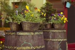 El barril con las flores acerca al café Fotos de archivo