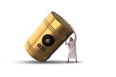 El barril de aceite favorable del hombre de negocios árabe Imagenes de archivo