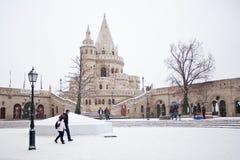 El bastión de los pescadores en el invierno en Budapest, Hungría foto de archivo libre de regalías
