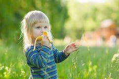 El bebé adorable come retén del plátano en alta hierba imagen de archivo libre de regalías
