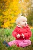 El bebé adorable se sienta en hierba bajo árbol amarillo Foto de archivo libre de regalías