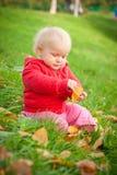 El bebé adorable se sienta en juego de la hierba con la hoja Imagen de archivo