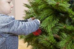 El bebé adorna el árbol de Navidad con la bola roja Fotografía de archivo