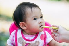 El bebé come la comida de su alimentación de la madre foto de archivo