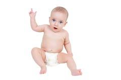 El bebé de seis meses señala su dedo Fotos de archivo