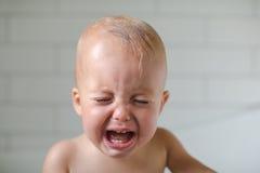 El bebé de un año llora los dientes del primer seis visibles Imagenes de archivo