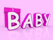 El bebé del regalo representa sorpresas y los regalos de la Regalo-caja Foto de archivo libre de regalías