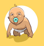 El bebé desnudo con un pacificador está intentando levantarse Foto de archivo libre de regalías