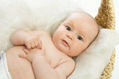El bebé en cesta Imagen de archivo libre de regalías