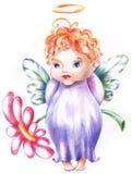 El bebé es ángel con la flor Foto de archivo