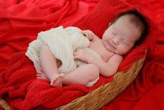 el bebé está durmiendo en la manta roja de la tela fotografía de archivo libre de regalías