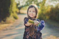 El bebé lindo con el pelo moreno y el marrón observa el retrato con las flores salvajes púrpuras azules profundas que llevan desc Imagen de archivo