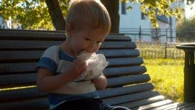 El bebé mastica un bollo y arruga su nariz almacen de metraje de vídeo