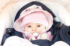 el bebé se vistió para el invierno en el cochecito recién nacido fotografía de archivo libre de regalías