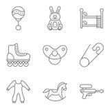 El bebé relacionó la línea fina sistema del icono del vector Imagen de archivo libre de regalías