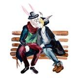 El besarse antropomorfo de los pares de las liebres del estilo del inconformista Imagen de archivo libre de regalías