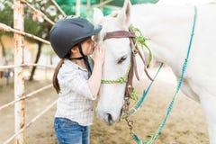 El besarse cariñoso de la muchacha equino imagen de archivo libre de regalías