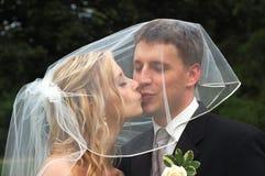 El besarse de los pares de la boda Foto de archivo libre de regalías