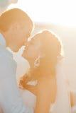 El besarse feliz de novia y del novio Imagen de archivo