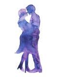 El besarse feliz del amante de los pares, la invitación de boda o el compromiso, enganchan, stock de ilustración