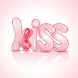 El beso de la palabra con los labios enormes ilustración del vector