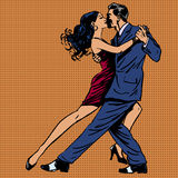 El beso del hombre y de la mujer baila arte pop del tango Fotos de archivo libres de regalías