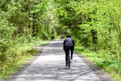El Biking en bosque foto de archivo
