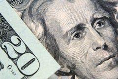 El billete de banco americano del dólar 20 Imagenes de archivo