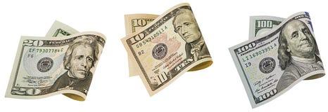 El billete de banco de papel americano dobló blanco aislado collage Foto de archivo libre de regalías