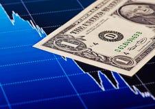 el billete de banco del Uno-dólar y la tendencia bajista trazan como fondo imagenes de archivo